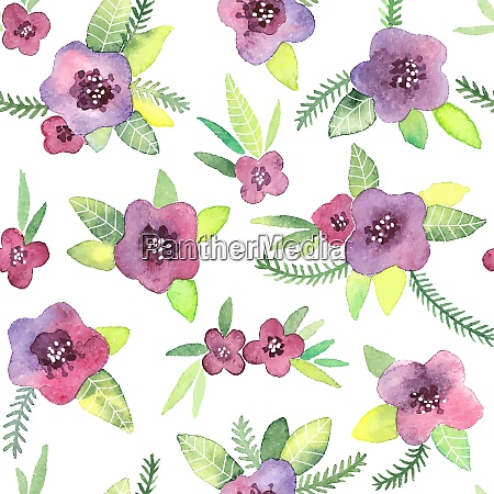 seamless pattern with flowers watercolor violets