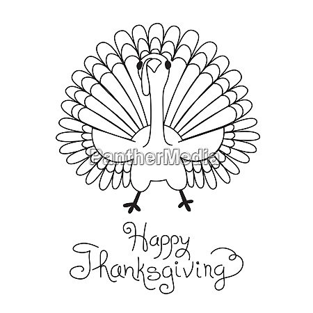 doodle thanksgiving turkey freehand vector drawing