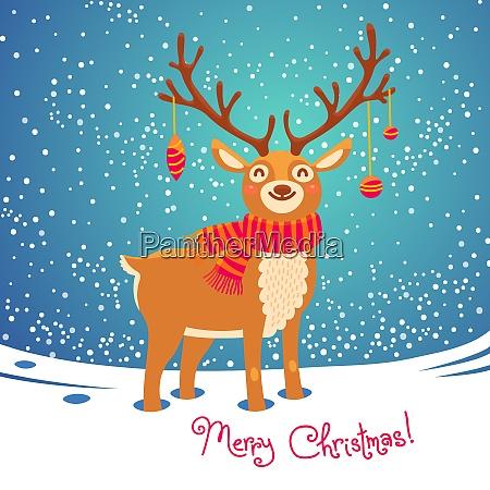 christmas card with reindeer cute cartoon