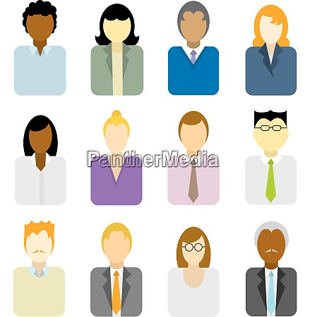 business people icons multi ethnic