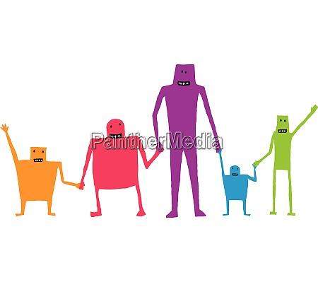 cartoon teamwork holding hands happy