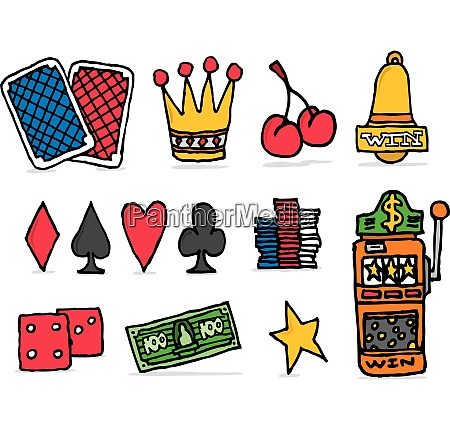 casino icon set chance betting