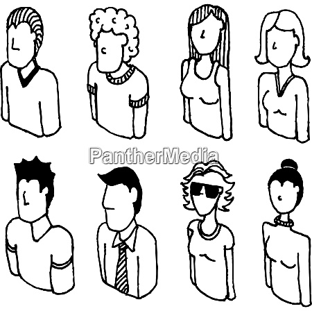 people vector icon set lineart