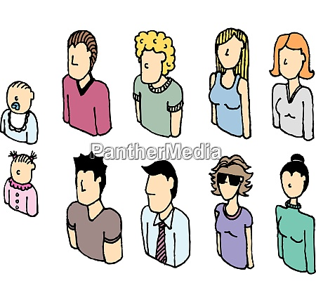 colorful people vector icon set