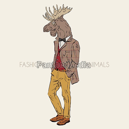 anthropomorphic design of moose hipster hand