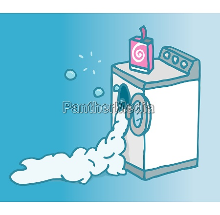 cartoon illustration of a malfunctioning washing