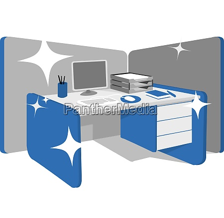 clean office desk workstation