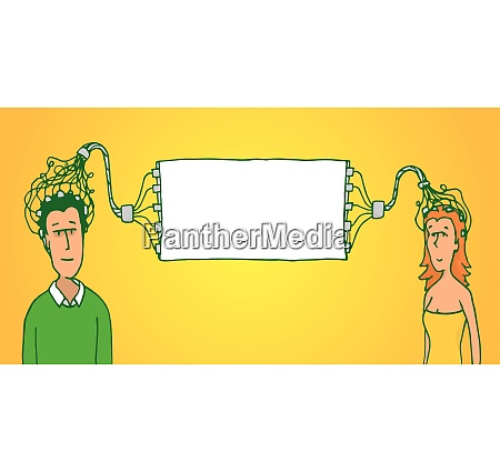 cartoon illustration of a couple connecting