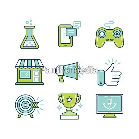 vector set of linear icons in