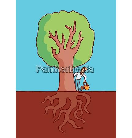 cartoon illustration of man watering a