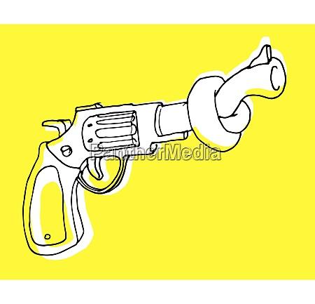 cartoon illustration of gun control or