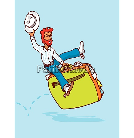 cartoon illustration of cowboy riding luggage