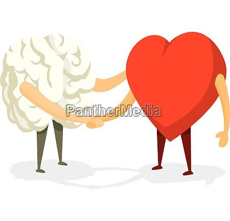 cartoon illustration of friendly handshake between