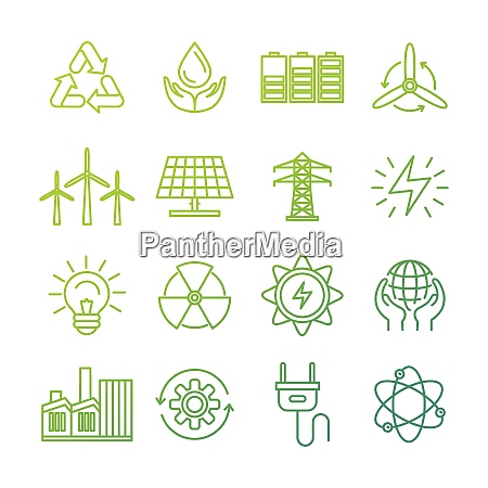vector ecology signs and icons in