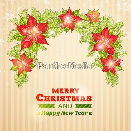 christmas card with poinsettia christmas star
