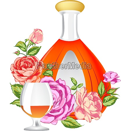 rose and cognac abstraction vector illustration