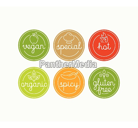 vector set of food menu badges