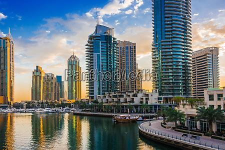modern residential architecture of dubai marina