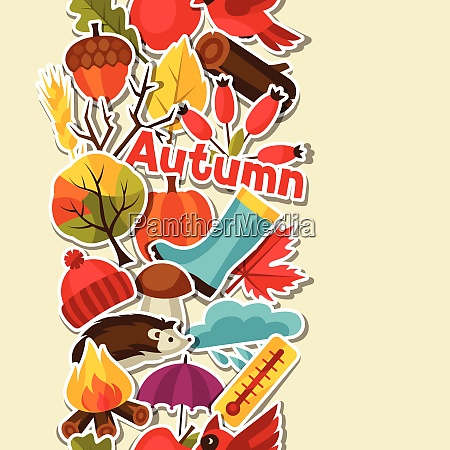 seamless pattern with autumn sticker icons