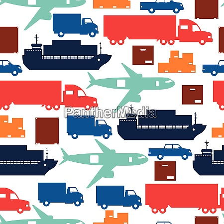 freight cargo transport icons seamless pattern