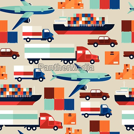 freight cargo transport seamless pattern in