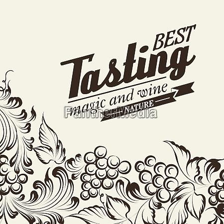 grapes design for wine menu vector