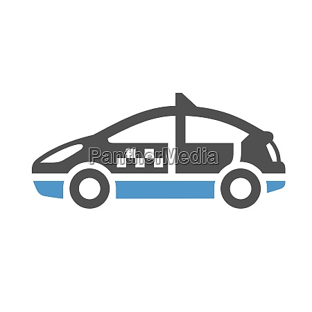 taxi car gray blue icon isolated