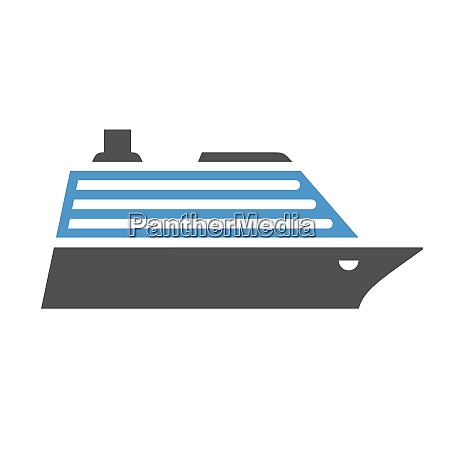 cruise liner gray blue icon