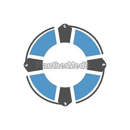 life buoy gray blue icon