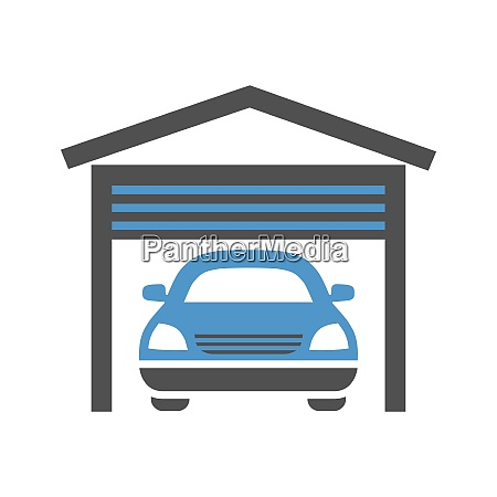 garage gray blue icon isolated