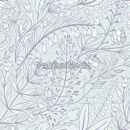 vector floral seamless pattern with herbs