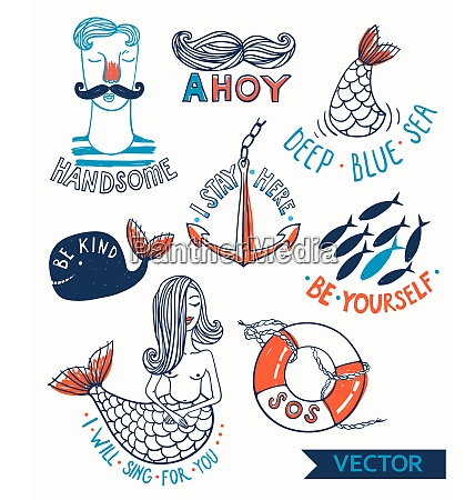 vector set of hand drawn nautical