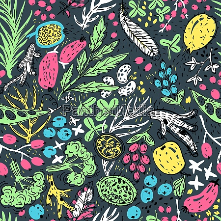 vector floral seamless pattern with colored