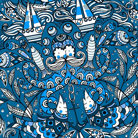 vector seamless pattern with old octopuses