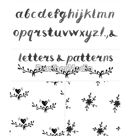 vector set of watercolor alphabet and