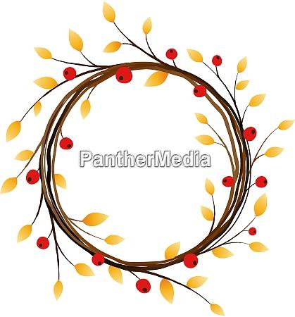 autumn wreath on white background eps