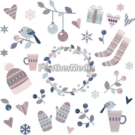 winter design elements on a white