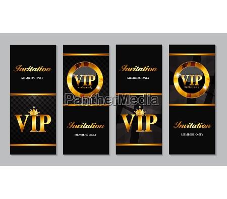set of vip members card vector