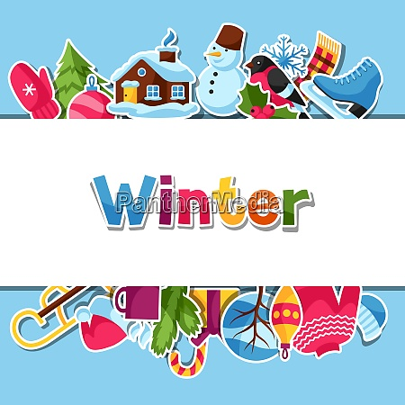 background with winter stickers merry christmas