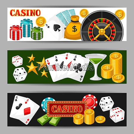casino gambling banners or flyers with