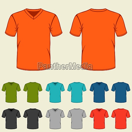 set of colored t shirts templates