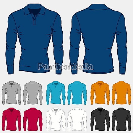 set of colored long sleeve polo
