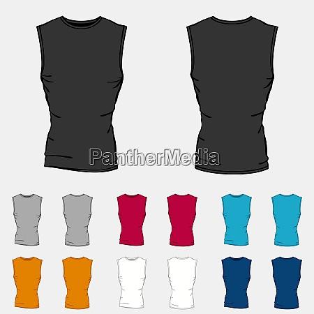 set of colored sleeveless shirts templates