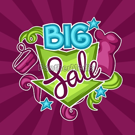 sale banner with female clothing and
