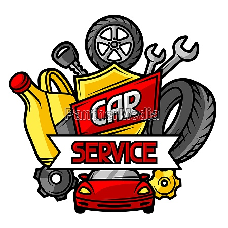 car repair concept with service objects