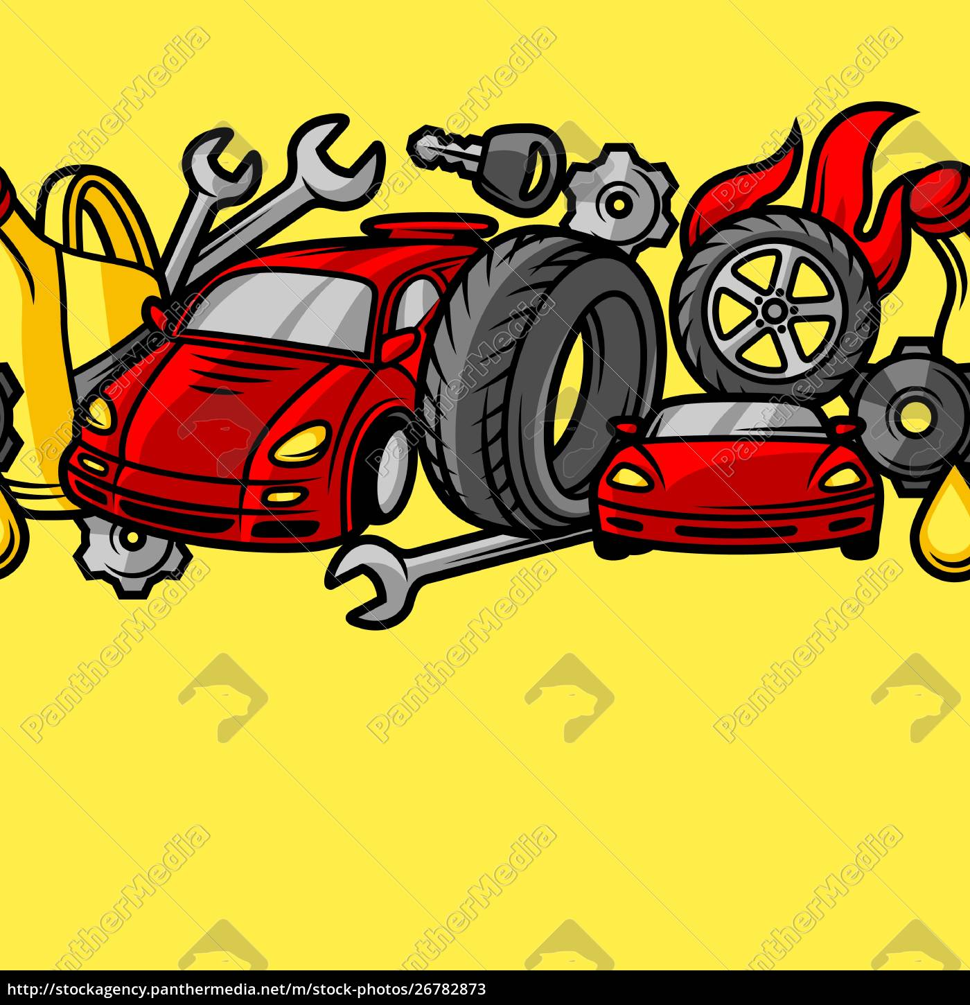 car, repair, seamless, pattern, with, service - 26782873