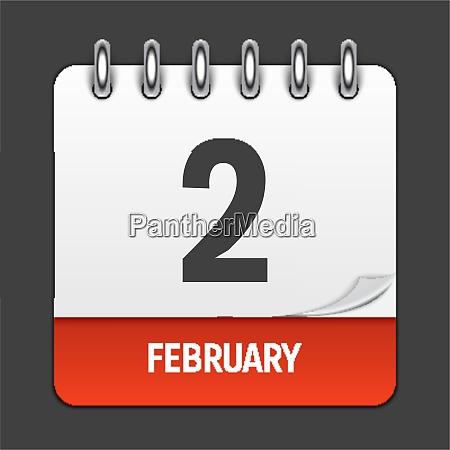 february 2 calendar daily icon vector