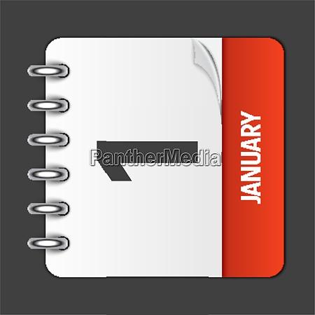 january 1 calendar daily icon vector