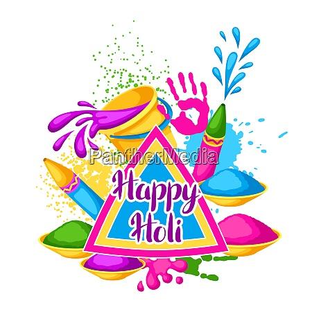 happy holi colorful background illustration of