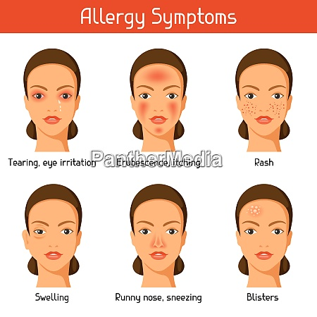 allergy symptoms vector illustration for medical
